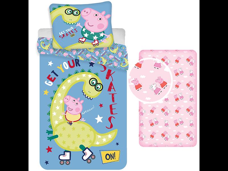 Peppa Pig Duvet Cover Set Skates - Single - Including Fitted Sheet - Cotton