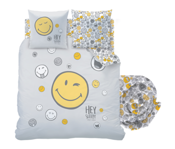 Smiley World Duvet Cover Set Hey - Double - Including fitted sheet