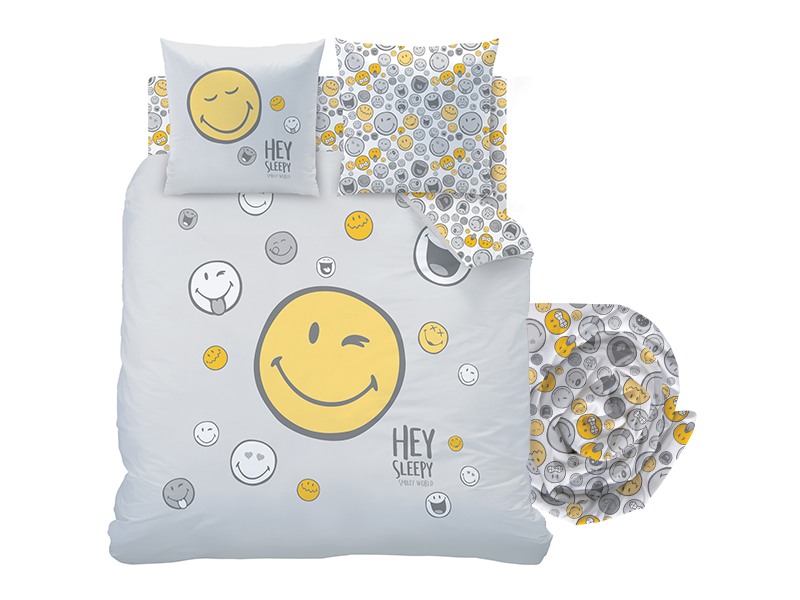Smiley World Duvet Cover Set Hey - Double - Including Fitted Sheet - Cotton