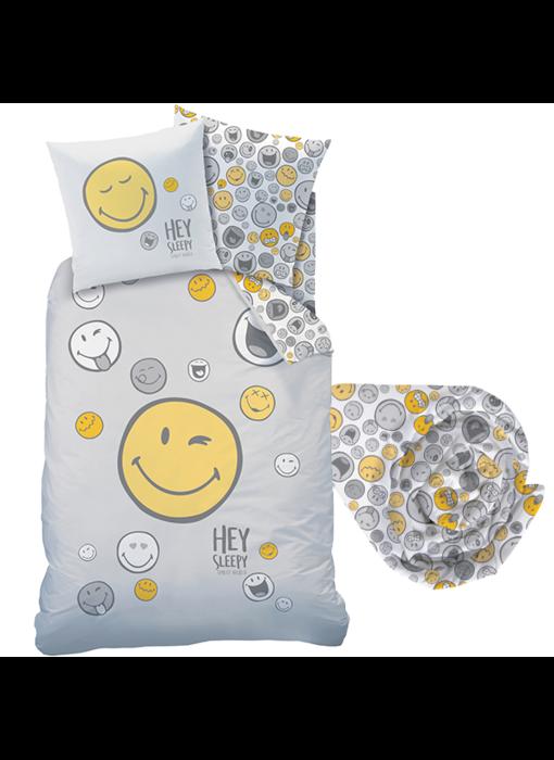 Smiley World Dekbedovertrek Set Hey - Eenpersoons - Inclusief Hoeslaken