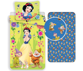 Disney Sneeuwwitje Bettbezug Set 7 Zwerge - Einzel - Inklusive Spannbetttuch