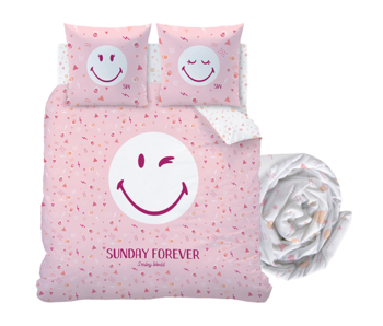 Smiley World Duvet Cover Set Sunday - Double - Including fitted sheet