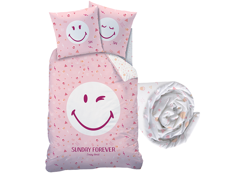 Smiley World Duvet cover Set Sunday - Single - Including fitted sheet - Cotton