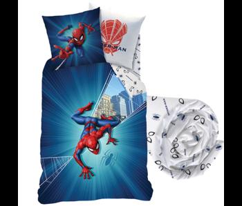 SpiderMan Dekbedovertrek Set City - Eenpersoons - Inclusief Hoeslaken