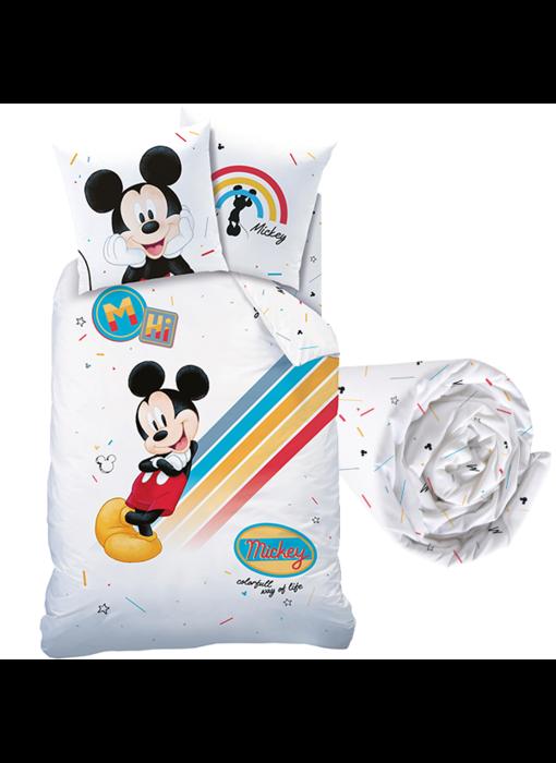 Disney Mickey Mouse Dekbedovertrek Set Colourful - Eenpersoons - Inclusief Hoeslaken