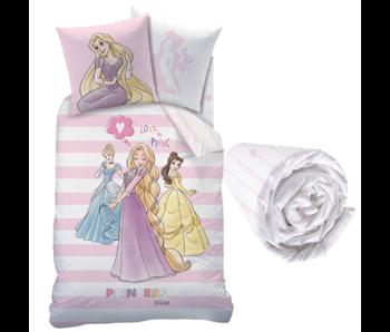 Disney Princess Bettbezug Set Streifen - Single - Inklusive Spannbetttuch