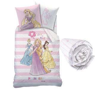 Disney Princess Duvet Cover Set Stripes - Single - Including fitted sheet