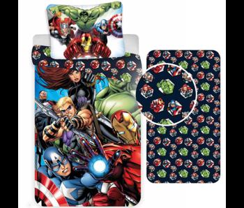 Marvel Avengers Dekbedovertrek Set All-Out - Eenpersoons - Inclusief Hoeslaken