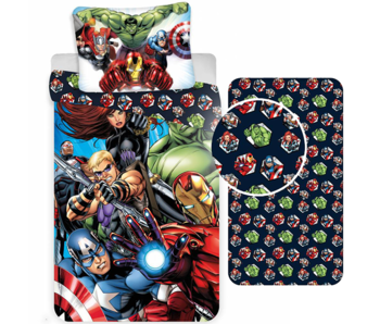 Marvel Avengers Duvet Cover Set Superheroes - Single - Including Fitted sheet