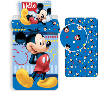 Disney Mickey Mouse Duvet cover Set Hello - Single - Including fitted sheet