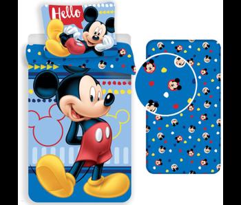 Disney Mickey Mouse Ensemble housse de couette Hello - Simple - Drap housse inclus