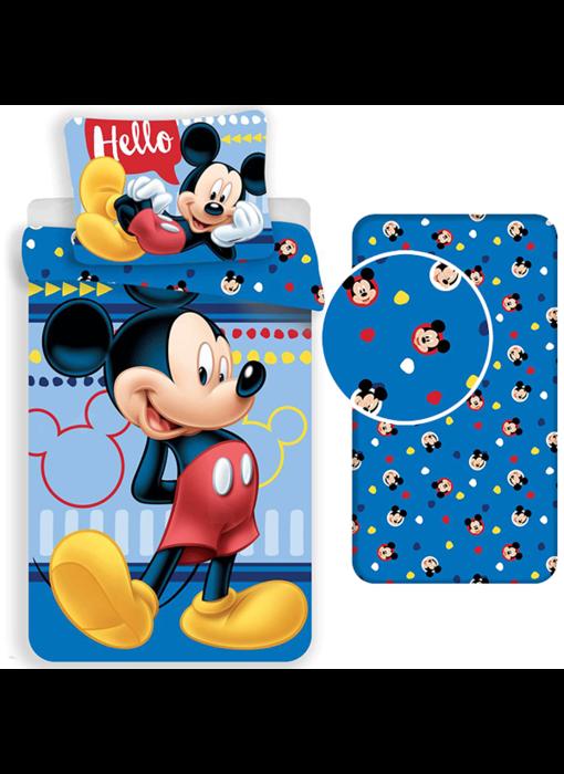 Disney Mickey Mouse Dekbedovertrek Set Hello - Eenpersoons - Inclusief Hoeslaken