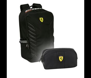 Ferrari Backpack Set Nero - Backpack and Pouch