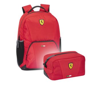Ferrari Backpack Set Red - Backpack and Pouch