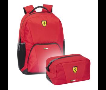 Ferrari Rucksack Set Rot - Rucksack und Beutel