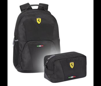 Ferrari Ensemble de sac à dos noir - sac à dos et pochette