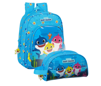 Baby Shark Backpack Set Family - Backpack and Pouch