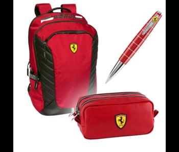 Ferrari Premium Set Rot - Rucksack + Tasche + Stift