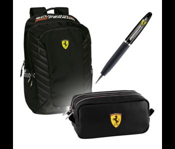 Ferrari Premium Set Schwarz - Rucksack + Tasche + Stift