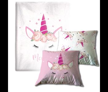 Unicorn Cushion Set Magic - Fleece Blanket and Throw Pillow