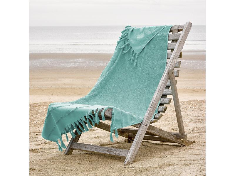 De Witte Lietaer Hamam strandlaken met flosjes Fjara - 100 x 180 cm - Groen