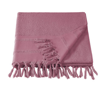 De Witte Lietaer Hammam beach towel with tassels Fjara rose wine 100x180 cm