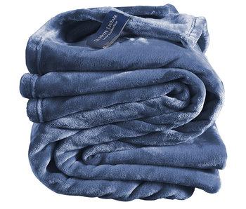 De Witte Lietaer Fleeceüberwurf Gemütliches 150x200 blaues Indigo 100% Polyester