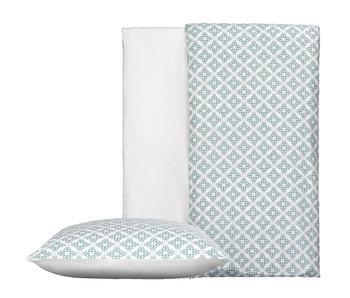 De Witte Lietaer Housse de couette Coton Satin Azulejos Tourmaline 140 x 200/220 cm