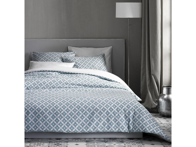 De Witte Lietaer Dekbedovertrek Katoen Satijn Azulejos - Lits Jumeaux - 240 x 220 cm - Blauw