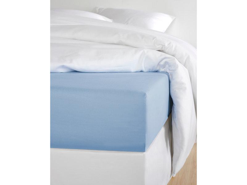 De Witte Lietaer Hoeslaken Katoen Satijn Olivia - 180 x 200 cm - Blauw