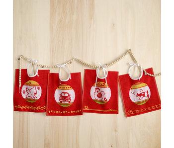 De Witte Lietaer Set 4 Baby Bibs Cotton Red - 32 x 40 cm