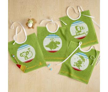 De Witte Lietaer Set 4 Baby Bibs Cotton Green - 32 x 40 cm