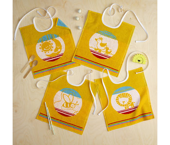 De Witte Lietaer Set 4 Baby Bibs Cotton Yellow - 32 x 40 cm