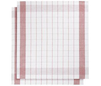 De Witte Lietaer Theedoek Glazendoek Mixte Red 2 stuks 68 x 68 cm