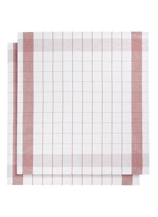 De Witte Lietaer Tea towel Glass towel Mixte Red 2 pieces 68 x 68 cm