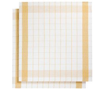 De Witte Lietaer Geschirrtuch Glastuch Mixte Ocker Gelb 2 Stück 68 x 68 cm
