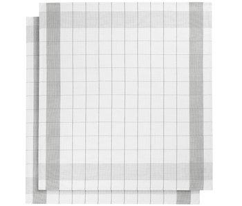 De Witte Lietaer Theedoek Glazendoek Mixte Grey 2 stuks 68 x 68 cm