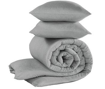 De Witte Lietaer Housse de couette Flanelle Coton Tarbot Natural Grey 260 x 240 cm