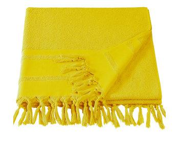 De Witte Lietaer Drap de plage hammam à pompons Fjara jaune 100x180
