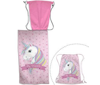 Unicorn 2-in-1 Beach towel + Gymbag 70x140 + 43 x 32