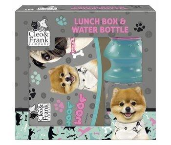 Cleo & Frank Set Lunchbox + Wasserflasche Woof Woof