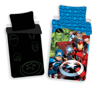 Marvel Avengers Housse de couette Glow in the Dark 140 x 200 cm Coton