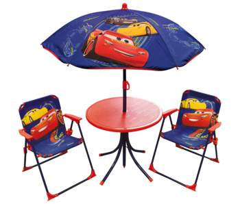 Disney Cars Ensemble de jardin 4 pièces - 2 Chaises + Table + Parasol
