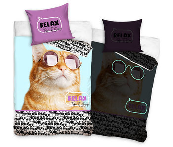 Animal Pictures Housse de couette Relax Cat Glow in the Dark 140 x 200 Coton
