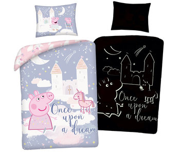 Peppa Pig Housse de couette Glow in the Dark 140 x 200 cm + 70 x 90 cm coton