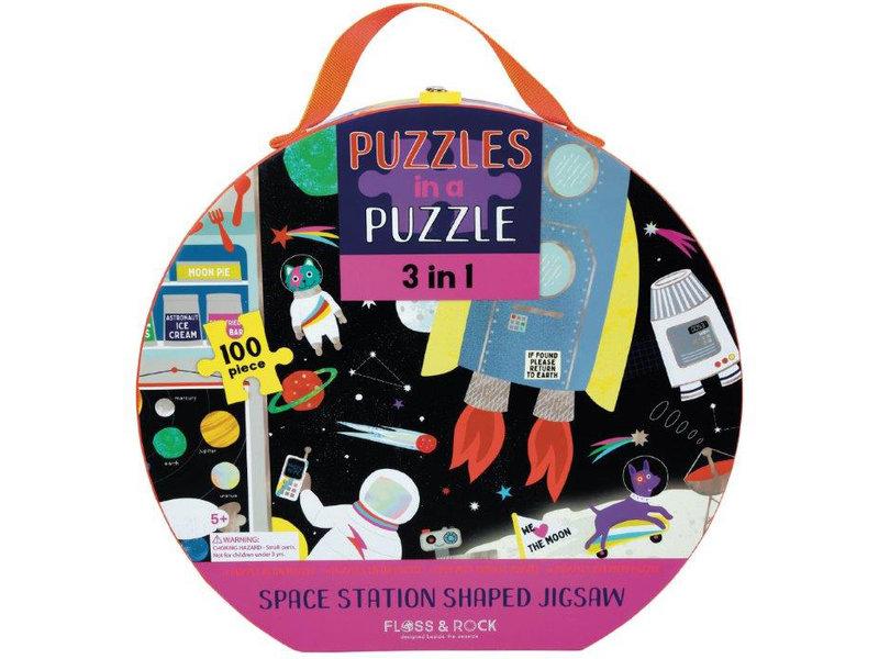 Floss & Rock 3-in-1 Space Puzzel - 46 x 47 cm
