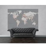 Fotobehang - Silver map small - 232 cm x 158 cm - Gray
