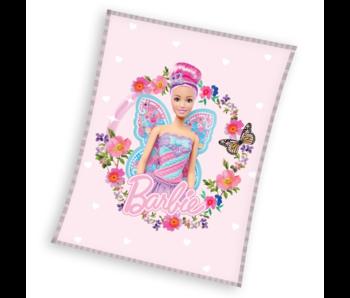 Barbie Couverture polaire Fleurs 110 x 140 cm