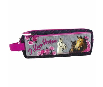 Animal Pictures Pencil Case Horses 20 x 8 x 4 cm - Polyester
