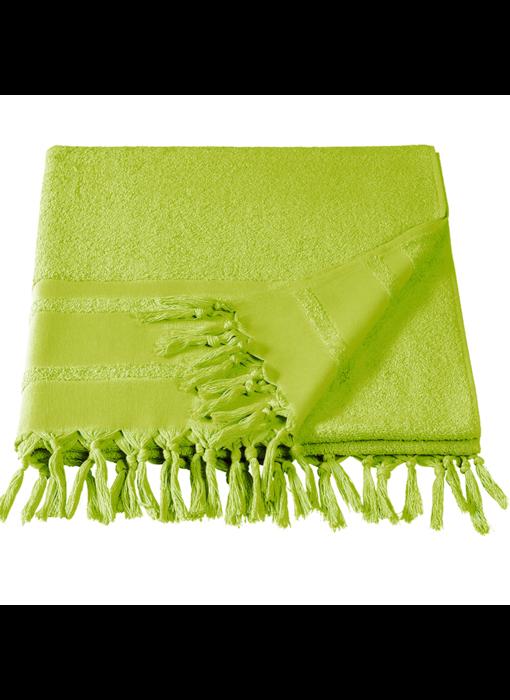 De Witte Lietaer Hamam strandlaken met flosjes Fjara lime green 100X180